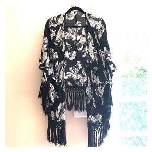 Black & White Kimono / Beach Cover Up - Roxy
